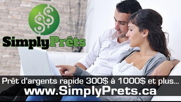 Pour l'emprunt d'un montant entre 300.00$ et 1000.00$ chez SimplyPrêts, notre équipe de professionnels est là pour assurer votre satisfaction. Votre ...